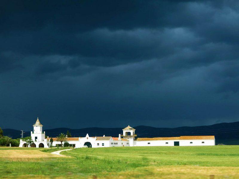 dark rain over a hacienda