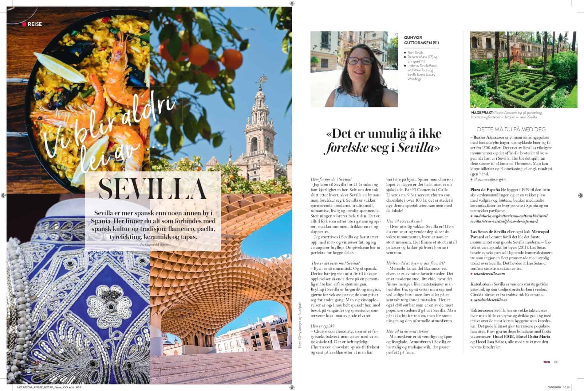 Reiseartikkel i Magasinet Tara om Sevilla med ulike bilder av Sevilla