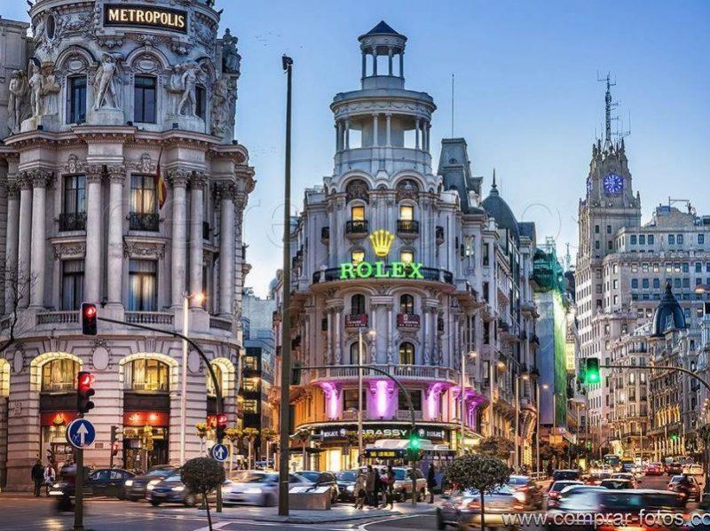 Afternoon view of Gran Via Madrid